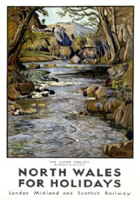 North Wales for Holidays, Lledr Valley, Snowdonia. LMS Vintage Travel Poster by S J Lamorna Birch